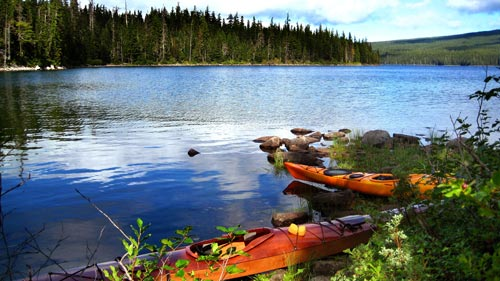 Waldo Lake kayaks set to float
