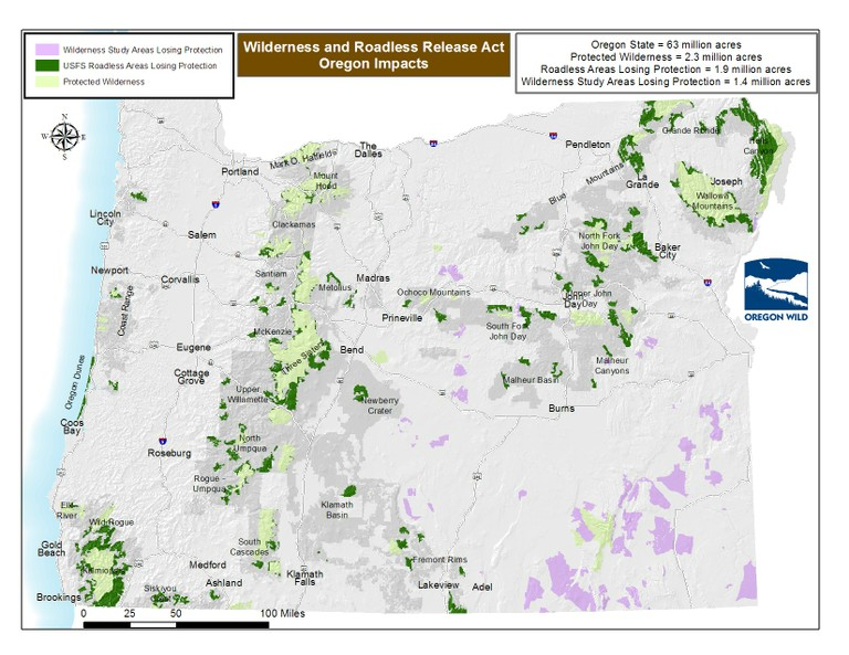 Wilderness And Roadless Release Act HB 1581 Oregon Map